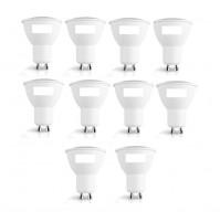 10 LAMPADE LED CON RIFLETTORE SPOTLIGHT GU10 7WATT CLASSE A+ LAMPADINA PEGASO