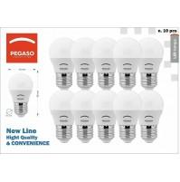 10 LAMPADE LED SFERA OPALE G45 LAMPADINA 7WATT ATTACCO E27 CLASSE A+ PEGASO
