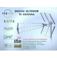 ANTENNA DIRETTIVA TV TEKLIFE ANALOGICA E DIGITALE TERRESTRE HD 16-20 db LGV4 LTE