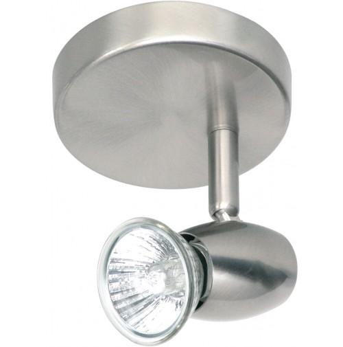 APPLIQUE FARETTO EST RANEX SINGOLO SPOT ACCIAIO SATINATO LAMPADE GU10 LAMPADARIO