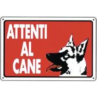 CARTELLO SEGNALETICO TARGA TABELLA PVC ATTENTI AL CANE ATTENZIONE 20x30