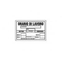 CARTELLO SEGNALETICO TARGA TABELLA PVC PLASTICA ORARIO DI LAVORO NERO 20X30