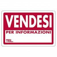 CARTELLO SEGNALETICO TARGA TABELLA PVC PLASTICA VENDESI PER INFORMAZIONI 20X30