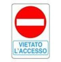 CARTELLO SEGNALETICO TARGA TABELLA PVC PLASTICA VIETATO L'ACCESSO 20X30