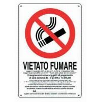 CARTELLO SEGNALETICO VIETATO FUMARE IN METALLO FERRO  20X30