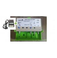 CENTRALINO AMPLIFICATORE DA PALO + ALIMENTATORE 300 MAH  2 USCITE 48 dB UHF