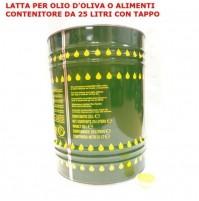 CONTENITORE TANICA RECIPIENTE OLIO IN LATTA LAMIERA DA LT 25 COMPLETO DI TAPPO