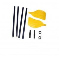 COPPIA DI REMI 3 SEZIONI COMPONIBILI PLASTICA 114 CM BLU E GIALLO BARCA REMARE