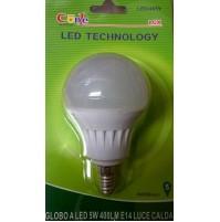 LAMPADA LED A SFERA 5 WATT ATTACCO E14 LUCE CALDA AUTONOMIA 30000 ORE LAMPADINA