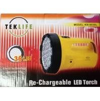LAMPADA TORCIA RICARICABILE A 36 LED + CARICA BATTERIA DI RETE PROFESSIONALE