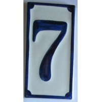 NUMERO CIVICO IN CERAMICA BLU 7 PROSPETTO CASA TARGA MATTONELLA  CM 6,5 x 13,5