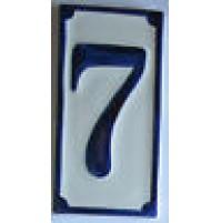 NUMERO CIVICO IN CERAMICA BLU 7 PROSPETTO TARGA MATTONELLA  CM 6,5x13,5