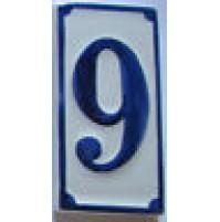 NUMERO CIVICO IN CERAMICA BLU 9 PROSPETTO TARGA MATTONELLA  CM 6,5x13,5