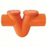 SIFONE ORIZZONTALE TIPO O-O SUPER TUBI RACCORDI PVC ARANCIO EDILIZIA D. 125 mm
