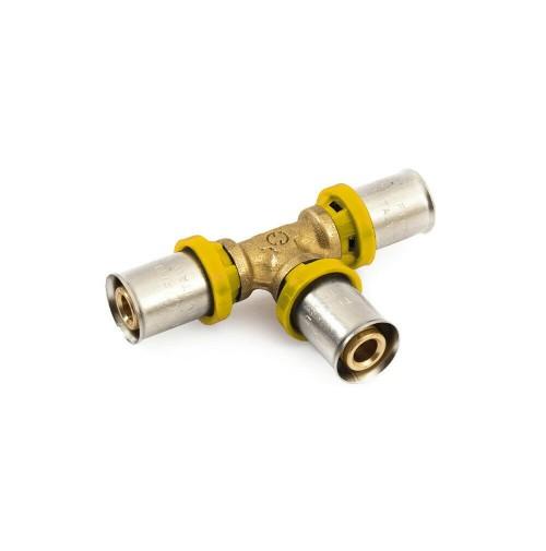TEE TUBO MULTISTRATO A PRESSARE INTERMEDIO x ACQUA/GAS trident gf 20x20x20 TI