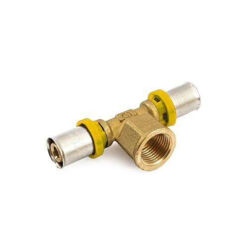 TEE femmina TUBO MULTISTRATO A PRESSARE x ACQUA/GAS trident gf 16x1/2x16 TI