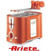 TOSTAPANE ARIETE TOSTI' 6 Livelli doratura Pinze inox scongelamento 500w ARANCIO