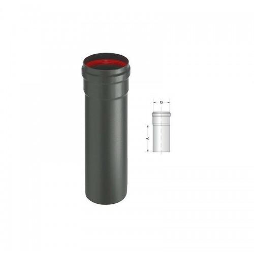 TUBO ACCIAIO PORCELLANATO 2 mm Aeternum ALA Nero 8x25 - D. 80 mm LUNGH. 25 CM