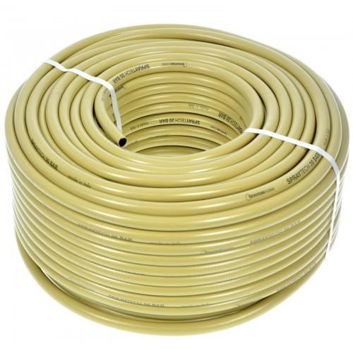 TUBO PER IRRORAZIONE RETINATO PVC MT.75  BAR 20   DIAM. 8-13 mm MOTOPOMPA