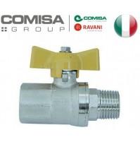VALVOLA A SFERA GAS METANO 1/2 MF RETTA MANIGLIA A FARFALLA in alluminio GIALLA