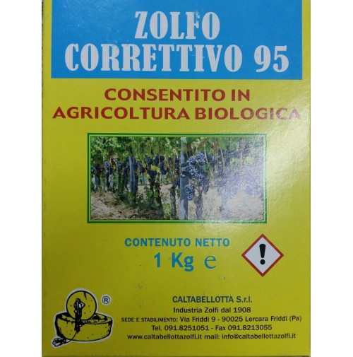 ZOLFO CORRETTIVO 95 GIALLO KG. 1 POLVERE SECCA PER AGRICOLTURA VERDURA